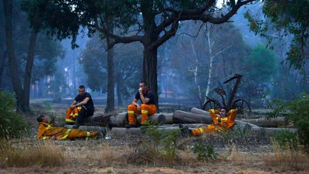 Firefighters at Dereel take a break after a long day.