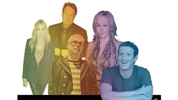Disorderly queue … (from left) Daryl Hannah, Dan Aykroyd, David Walsh, J.K. Rowling and Mark Zuckerberg have all been ...