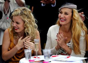 Jerry Hall with daughter Georgia Jagger in Melbourne for Oaks Day in 2010.