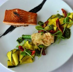 King salmon with zucchini pickle.