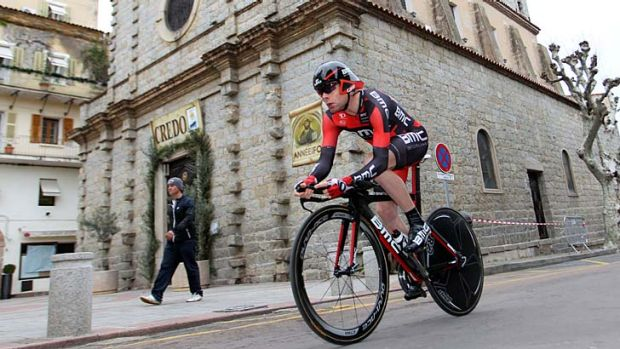 Out of sorts: Australian Cadel Evans in the second stage of the Criterium International.