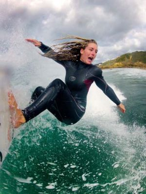 Making waves: Nikki Van Dijk, granted a wildcard, moved into the third round at the Rip Curl Women's Pro at Bells Beach, ...