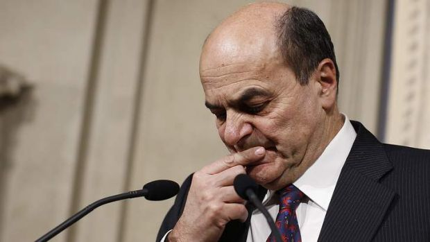 Stymied ... Pierluigi Bersani failed to talk Silvio Berlusconi or Beppe Grillo into a coalition.