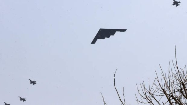 US Air Force B-2 stealth bombers pass US Air Base Osan south of Seoul, South Korea.