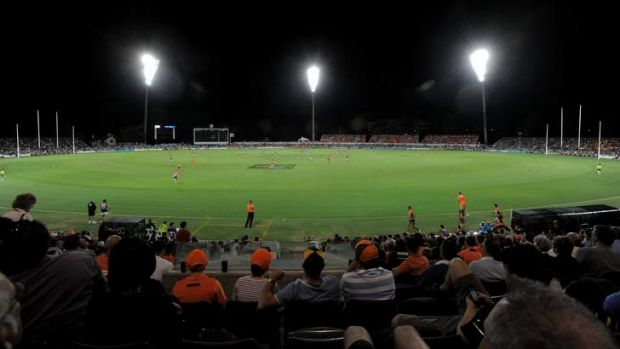 The first NEAFL match under lights at Manuka Oval will be played in June.
