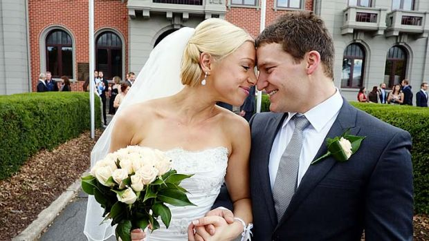 Life partners: Janine Rowse and Adam Wells at their wedding this year.