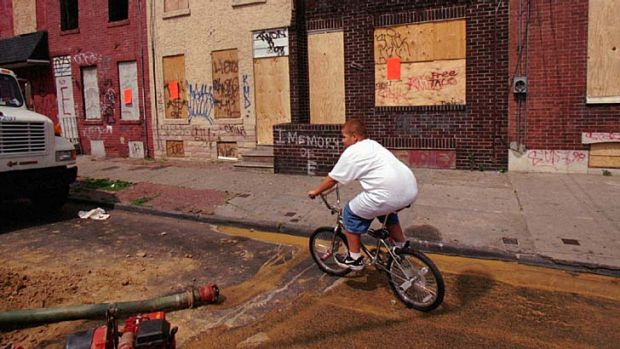A troubled area of north Philadelphia's Kensington section, where police boarded up drug houses.