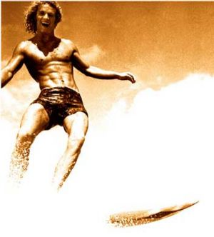 Peterson in surf documentary <i>Morning of the Earth</i>.