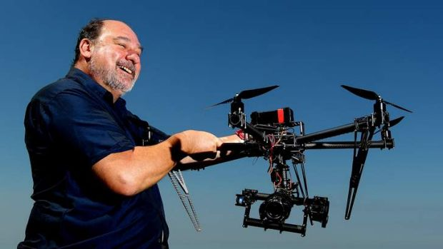 Animal Liberation's Mark Pearson with the drone.