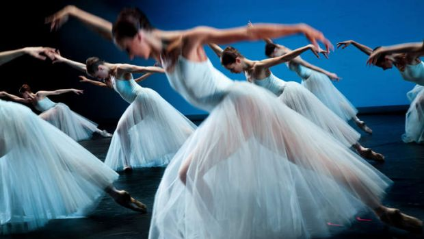 Bolshoi dancers perform George Balanchine's <i>Serenade</i>.