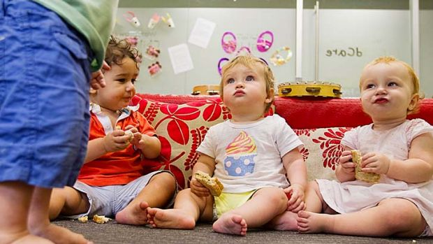 Out of step: Toddlers at World Tower Child Care in Haymarket, which offers a service for $60 an hour between 7pm and 7am.