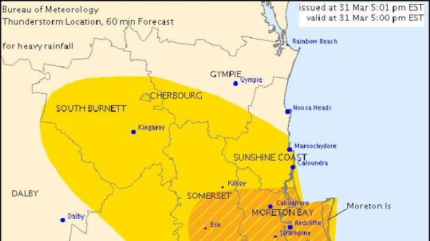 The warning area relevant for South East Queensland on Easter Sunday.