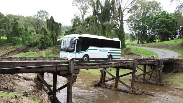 A 12 tonne school bus goes daily over Grieve Crossing, one of 13 bridges along Gradys Creek Road in the Kyogle area.