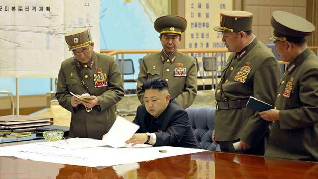 Sealing the deal: North Korean leader Kim Jong-un and his government have declared a 'state of war' with South Korea.