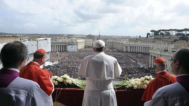 "Influence: Pope Francis addresses the crowd in his ""Urbi et Orbi"" speech."
