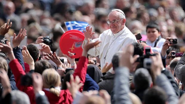 Plea for social equality ... Pope Francis, greeting the faithful during Easter Mass on Sunday, used the traditional ...