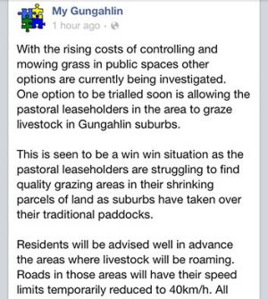 My Gungahlin's warning about roaming livestock.