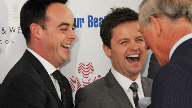 British comedians Ant and Dec, Anthony McPartlin, left, and Declan Donnelly, meet Prince Charles.
