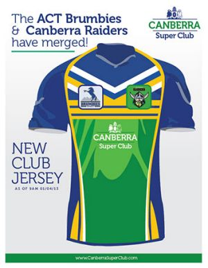 Canberra Super Club's jersey.