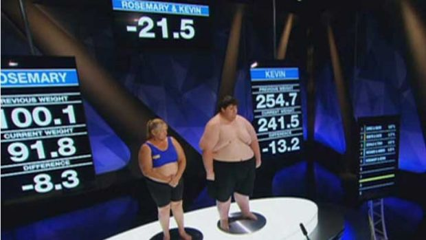 Motivationally challenged: Rosemary and Kevin at the weigh in.