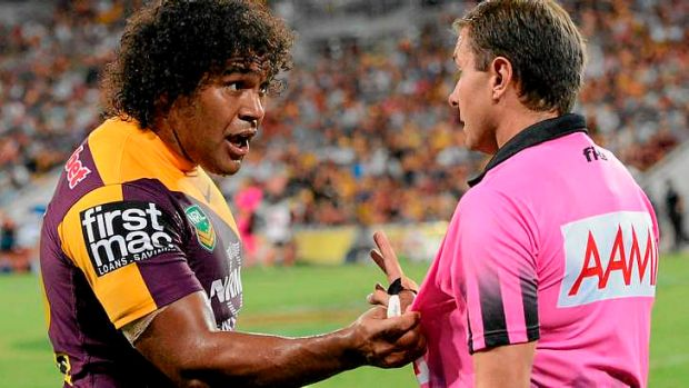 Broncos captain Sam Thaiday faces a one-week ban for grabbing referee Adam Devcich.