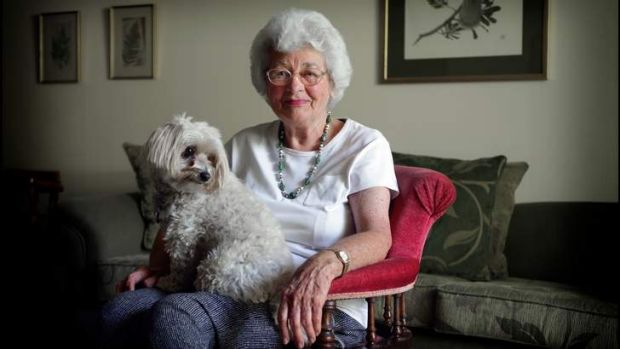 Beverley Broadbent at home with her dog Lucy.