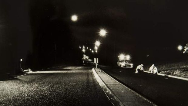 A photograph showing a body on the road, from the coronial inquest into the death of Troy Forsyth, who was killed in a ...
