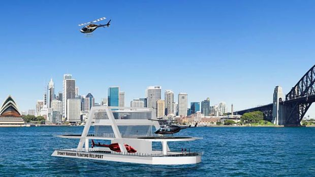 An artist's impression of the helipad proposed for Sydney Harbour.