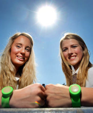 Seventeen-year-olds, Danielle Watt and Sarah Mount, have created a wristband they hope will prevent skin cancer.