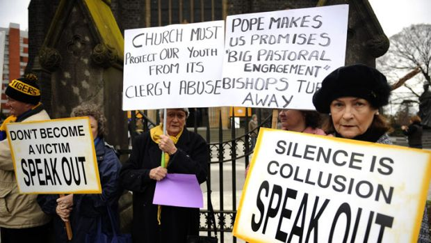 Broken Rights Australia conducts a vigil outside Melbourne's St Patrick's Cathedral to remember clergy abuse victims.