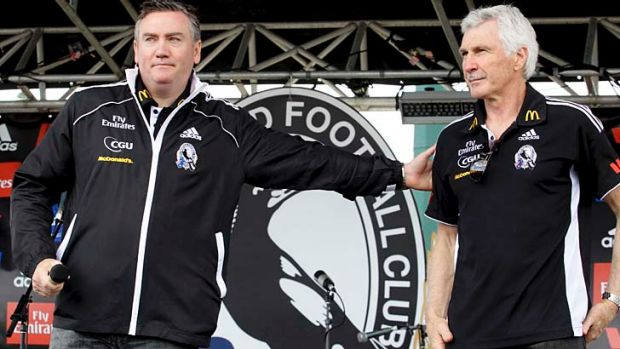 Collingwood president Eddie McGuire thanks outgoing coach Mick Malthouse on behalf of supporters who turned out in large ...