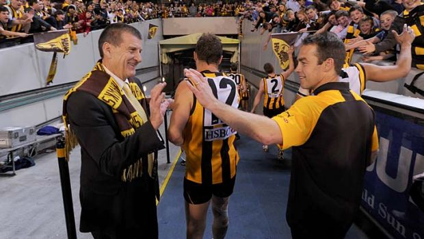 The other side of Kennett: The former Hawthorn president with coach Alastair Clarkson after the Hawks beat Adelaide in ...