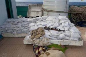 Intercepted: The 500 bags of heroin worth an estimated $100 million comprise one of the largest drug seizures made at sea.