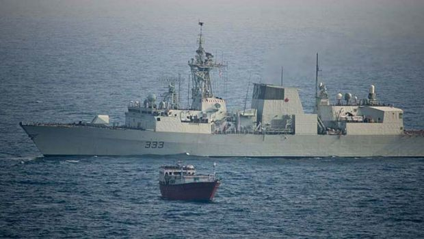 On alert: HMCS Toronto, part of an Australian-led taskforce, intercepted a small vessel suspected of drug smuggling.