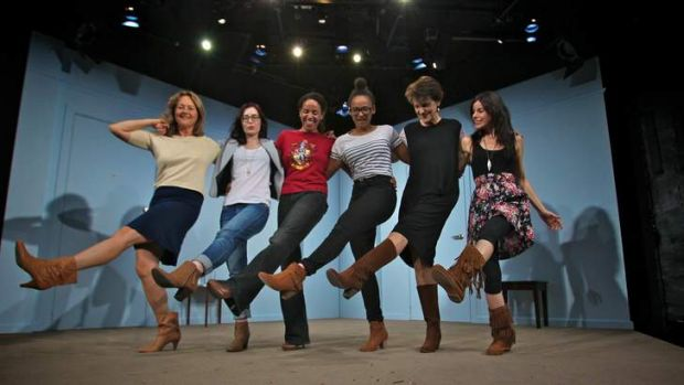 Girls united: the cast of Girl in Tan Boots, from left: Odile Le Clezio, Madeleine Jones, Sara Zwangobani, Zindzi ...