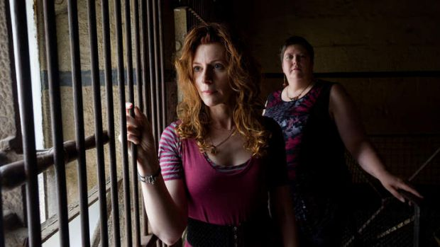 Crime writers Alison Goodman and Narrelle Harris at the Old Melbourne Gaol.