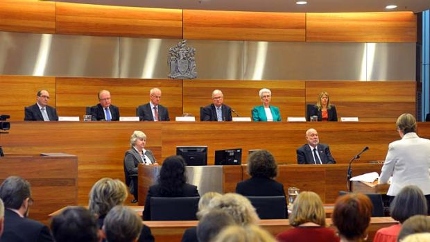 Frank and forthright: Justice Peter McCellan (top row, third from right) opens the royal commission on child sex abuse, ...