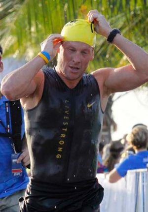 Lance Armstrong during the Ironman Panama 70.3 triathlon in Panama City.