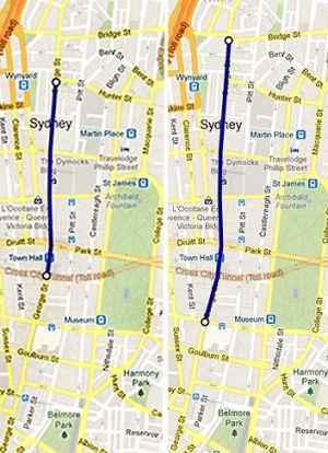The conflicting plans for the pedestrianisation of George Street. On the left, the state government's prefered option, ...