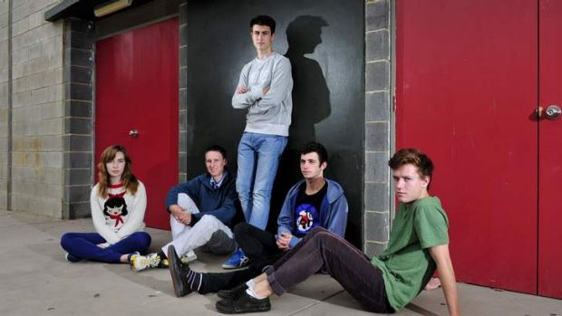Pondering the vote: Dickson College students, (left to right) Lara Roche,  Andrew Palm,  Filip Pantic, Laurence Thomas ...