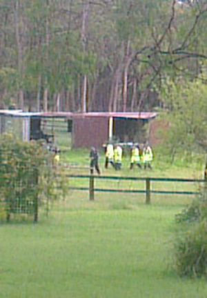 Police raid the property.