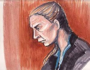 A court artists sketch of accused double murderer Allyson McConnell.