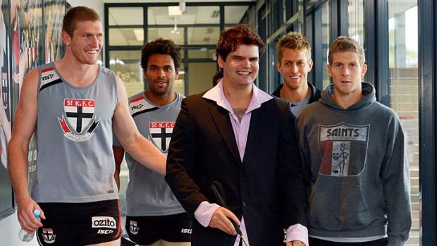 Inspirational: Liam Haven (centre) with Saints (from left) Ben McEvoy, James Gwilt, Leigh Montagna, Sean Dempster and ...