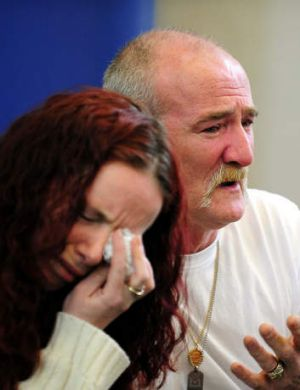 Mick Philpott and his wife Mairead during a news conference after the fire.
