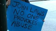 Protesters hand over Laws petition (Video Thumbnail)