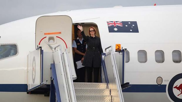 Heading to China: Prime Minister Julia Gillard departs Canberra.