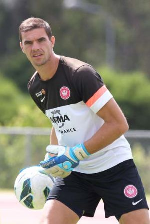 Keeping busy: Wanderers keeper Ante Covic.