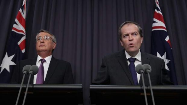 Treasurer Wayne Swan and Minister for Financial Services and Superannuation Bill Shorten address the media on April 5.
