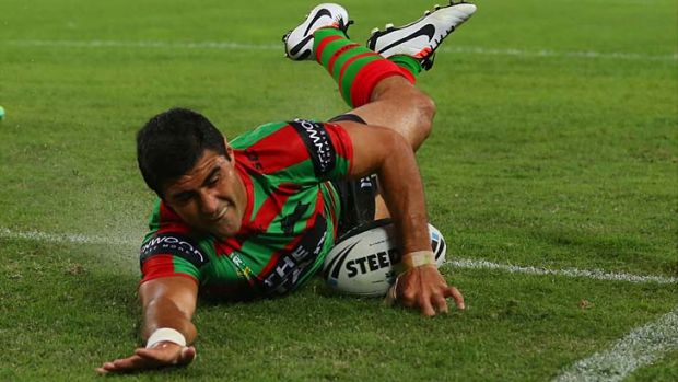 Red and greener pastures: former Bulldog Bryson Goodwin has landed on his feet since joining Souths.