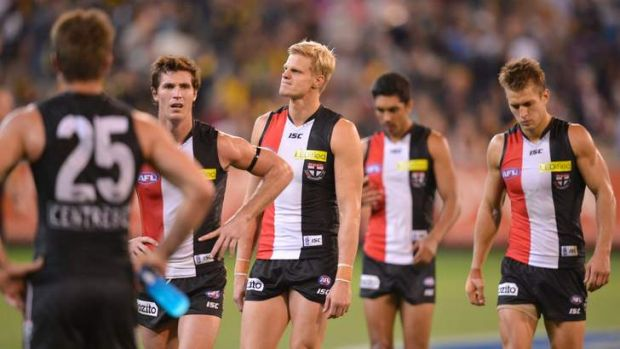 St Kilda walks off after losing to Richmond at the MCG.